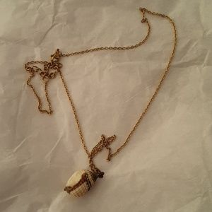 Gold and copper plated seashell necklace